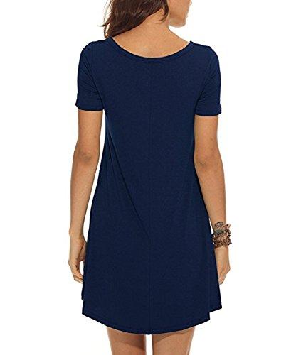 VIISHOW Damen Kurzarm beiläufige lose T-Shirt Kleid Navy Blau