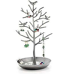 Jewellery Stand,Meshela Antique Vintage Birds Tree Branch Earring Necklace Holders Organiser Rack Tower(Silver)