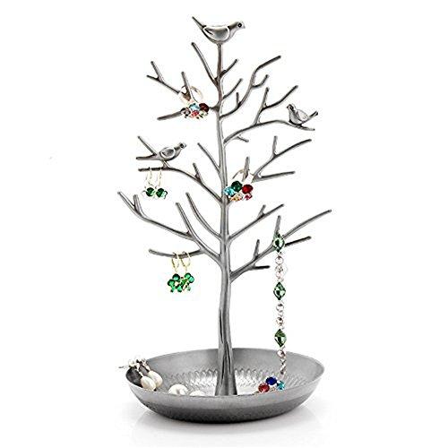 Meshela espositore porta gioielli, a forma di albero, per collane e orecchini, base metal, colore: silver, cod. 25054