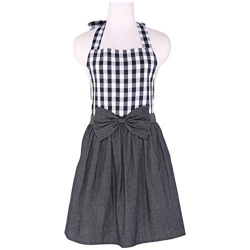 neoviva Baumwolle Denim Küche Schürze, Stil Tiffany, 100 % Baumwolle, Checked Navy, Adult Women