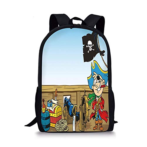 School Bags Pirate,Funny Pirate Boy Kid on Ship Deck Journey Dangerous Adventure in Unknown Waters Decorative,Multicolor for Boys&Girls Mens Sport Daypack