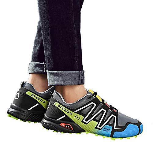 Beikoard-scarpa Uomo Scarpe da Corsa Antiscivolo da Uomo Scarpe da Trekking da Trekking Scarpe da Ginnastica per Sport all'Aria Aperta(Grigio,45)