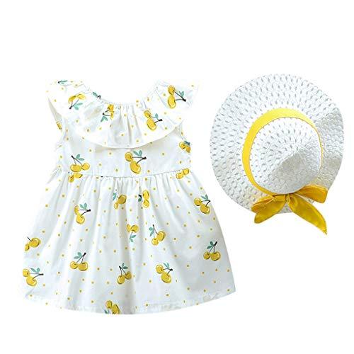 Livoral Mädchen Print Set Kleinkind Kind Baby Obst Prinzessin Kleid + Hut Kostüm(Gelb,90) (Preiswerte Piraten Kostüm)