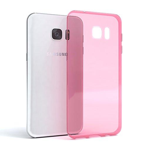 Samsung Galaxy S7 Edge Hülle - EAZY CASE Ultra Slim Cover TPU Handyhülle Matt - dünne Schutzhülle aus Silikon in Transparent / Weiß Clear Rosa