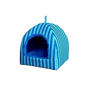 Panier Chien/chat Angelof panier pour chien maison Blue Stripe Pet Dog Cat Bed House chenil Doggy Warm coussin panier