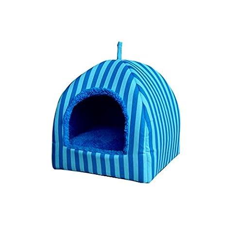 Panier Chien/chat Angelof panier pour chien maison Blue Stripe Pet Dog Cat Bed House chenil Doggy Warm coussin panier (S)