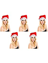 5 er Set Weihnachtsmütze Nikolausmütze 5 Sterne Led Blink Licht Rot Mütze Toll Leuchtend X29