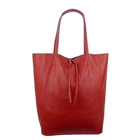 Damen Echtleder Shopper mit Innentasche in vielen Farben Schultertasche Henkeltasche (Rot)