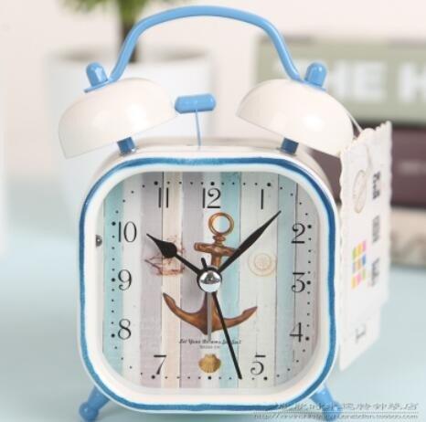 LTOOD Objets de décoration, Réveil, Bell Bell paresseux, Réveil, Réveil d'étudiants créatifs méditerranéens, l'enfant silencieux de l'horloge muet,Gquiet dormir.