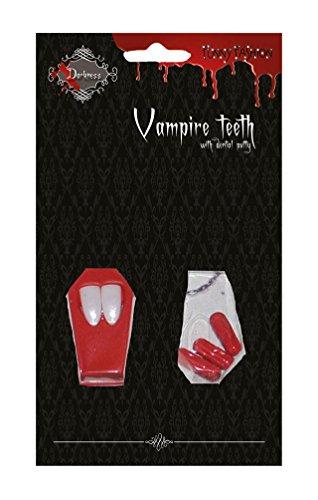 Karneval Klamotten Vampir Set : Vampir-Zähne Dracula-Zähne Vampirzähne mit Blutkapseln Zubehör Halloween Karneval
