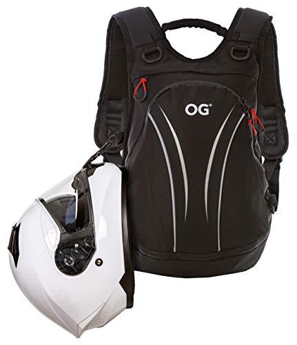 OG Online&Go Zaino Moto Leggero Nero da 20-30 Litri, Cinghia Porta Casco Moto, Zaino Ciclismo, Antifurto Impermeabile, Porta PC, Rifrangente, Campeggio, Escursionismo, Montagna, Viaggio, Palestra