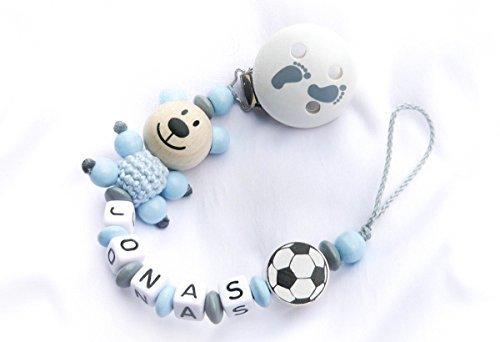 Baby Schnullerkette Teddy für Jungen mit Wunschnamen - Kinder - Geschenk zur Geburt, Taufe - Länge: max. 22cm (ohne Clip) (Weiß, Graue Babyfüße)