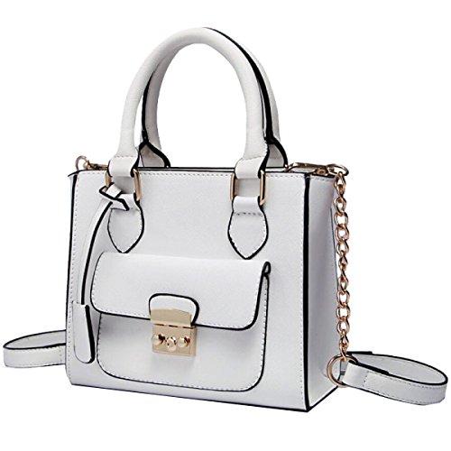 Yy.f Nuova Borsa Messenger Bag Borsa A Tracolla Femminile Piccola Borsa Sacchetto Quadrato Catena Borse Di Modo Sacchetto Di Colore Solido White