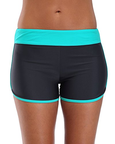 CharmLeaks Damen Badeshorts Schwimm Hotpants Bikini Badehose (M / UK 10, Türkis)