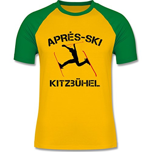 Après Ski - Apres Ski Kitzbühel - zweifarbiges Baseballshirt für Männer Gelb/Grün