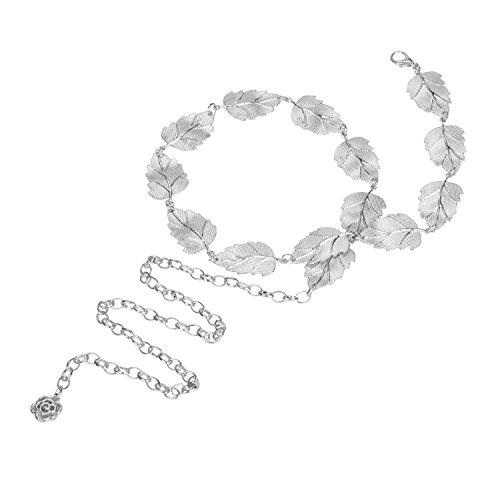 Audixius Damen Blatt Form Kette Einfarbig Kleid Taillenkette,Silber