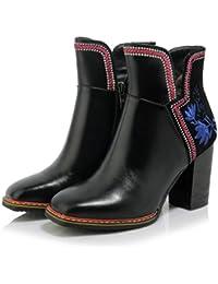 Best 4U® Zapatos de mujer de cuero genuino Botas de otoño de invierno Tacón  grueso 2a6658268693