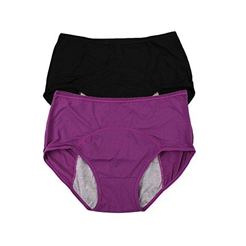 Yoyi Fashion Damen Slips, Netzmaterial, atmungsaktiv, auslaufsicher, bei der Periode, Mehrfachpackung, Größe: 36-44 Gr. 44, purple,black (43 Luft)