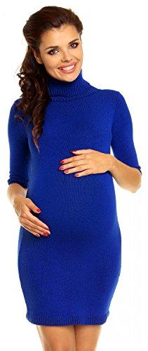 Zeta Ville Maternité - Mini robe en maille grossesse avec col roulé - femme 125c Bleu Royal