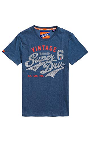 Superdry Heritage Classic tee, Camiseta de Tirantes para Hombre, Azul (Pacific Blue Heather Zf6), X-Small