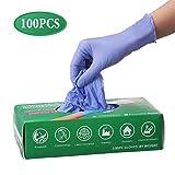 Slimerence Guanti medici monouso in nitrile, alimenti senza polvere, strutturati, industria chimica domestica, scatola blu da 100 XS