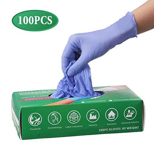 Slimerence Medical Nitril Einweghandschuhe Puderfrei Strukturierte Lebensmittel Chemische Haushaltsindustrie Blue Box of 100 Blau M