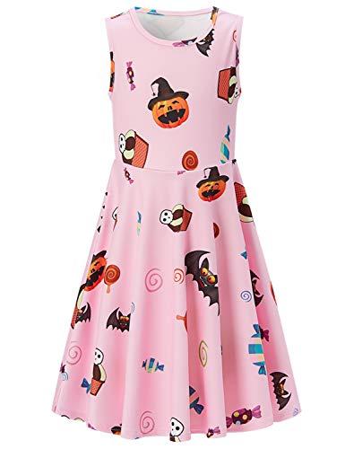 ACUCANDY Halloween Kürbis Bat Candy Drucken Ärmellos Midi A-Linie Tank Kleid