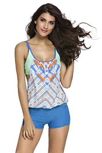 Ujena Vintage Bikini (Loveours Damen Mädchen Tankini Zweiteilige Bikini Set Gitter blau (XXXL))