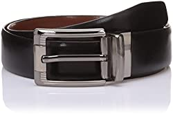 Lino Perros Mens Leather Belt (8903421288410_LMBE00252_105_Black and Brown)