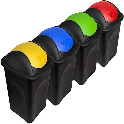 Deuba Stefanplast® 4X 60L Set Abfalleimer mit Schwingdeckel 68 x 41 x 41cm - Mülleimer Papierkorb Abfallbehälter Restmüll Müllbehälter Mülltrennung Mülltrennsystem Abfalltrennsystem -