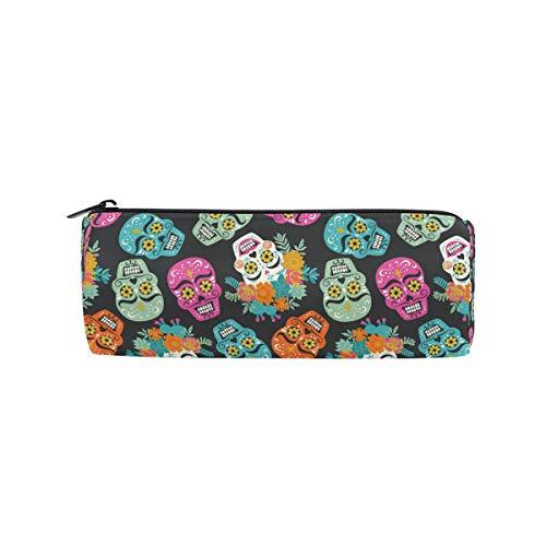 BIGJOKE Federmäppchen Mexiko Sugar Skull Muster Federtasche Stift Reißverschluss Tasche Tasche Organizer Make-up Pinsel Tasche für Mädchen Kinder Schule Student Schreibwaren Büro Supplies