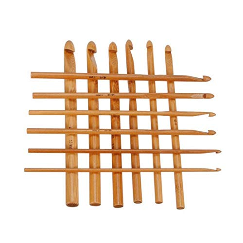 Crochet Hooks Needles - Big 12 Pcs Sweater Knitting Circular Bamboo Handle Crochet Hooks Smooth Weave Craft Needle Sizes - Handle Bamboo Crochet Handled Hooks Needles -