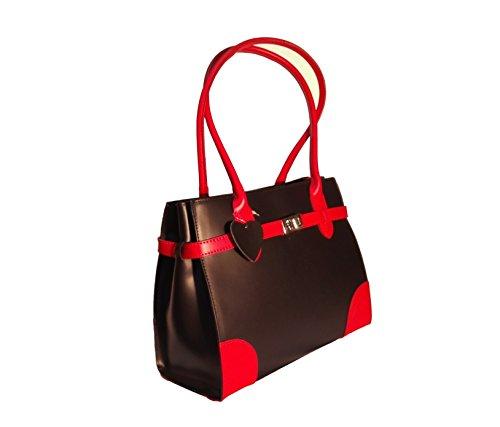 CatInBag , Sac pour femme à porter à l'épaule noir/rouge
