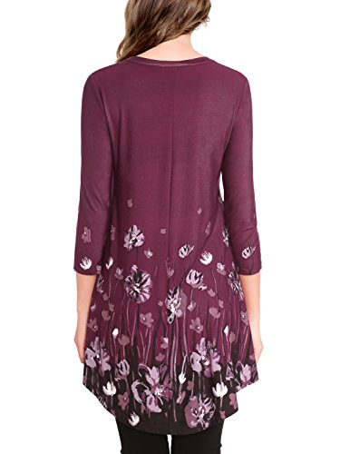 BaiShengGT Damen Blumenmuster Langarmshirt A-Linie Hem Tunika Stretch Longshirts Violett-3/4 Arm