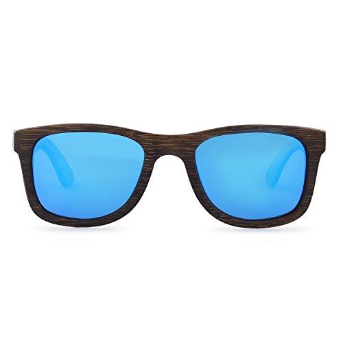Holz Sonnenbrille   Courageous Caramel   Wayfarer Blau