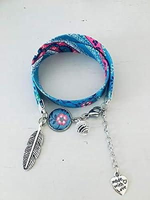 Bracelet Liberty bohème avec plume et perle à parfumer, bijou Liberty, bracelet liberty, idée cadeau, bracelet parfum, bijou, bijoux