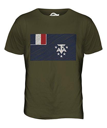 CandyMix Französische Süd- Und Antarktisgebiete Kritzelte Flagge Herren T Shirt Khaki Grün