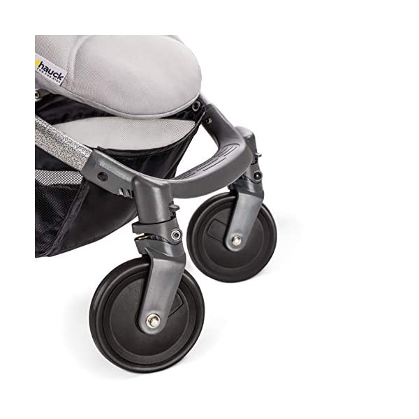 Hauck Swift Plus, Compact Pushchair with Lying Position, Extra Small Folding, One Hand Fold, Lightweight, Carrying Strap, from Birth Up To 15 kg, Silver/Charcoal Hauck EASY FOLDING - This pushchair is as easy to fold away as possible - the comfort stroller can be folded with one hand only within seconds, leaving one hand always free for your little ray of sunshine LIGHTWEIGHT - This pushchair can not only be folded away very compactly, but also easily transported by its carrying strap thanks to its light weight and aluminium frame COMFORTABLE - Backrest and footrest are multi-adjustable, the hood extendable. In addition, the pushchair comes with suspension, swiveling front wheels, soft padding, and large shopping basket 11