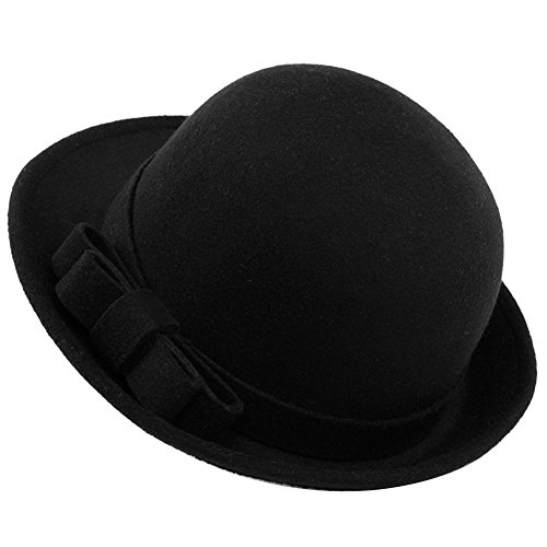 Butterme Mujer Roll Brim Dura Cloche Bowler Hat Con Elegante Bowknot Invierno Lana Fieltro Tribby Fedora Billycock Cap Estilo Vintage(Negro)