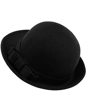 Butterme Mujer Roll Brim Dura Cloche Bowler Hat Con Elegante Bowknot Invierno Lana Fieltro Tribby Fedora Billycock...