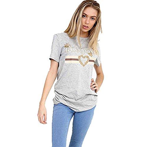 Friendz Trendz-Women Bonjour Slogan Baggy Slogan Glitter Stampa T-Shirt manica corta Grey