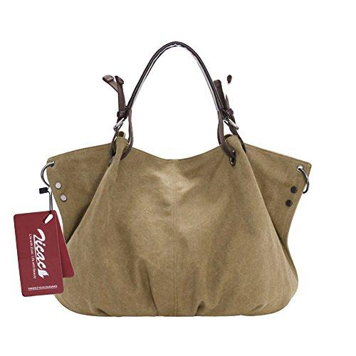 Nuovo Spalla Da Donna- tela-Borse della borsa delle signore Crossbody Totes Vintage borsa (Cachi)