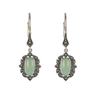 Esse Marcasite Sterling Silver Art Nouveau Oblong Green Jade & Marcasite Leverback Earrings of 3.7cm