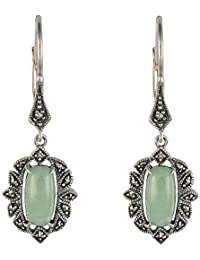 Esse Marcasite Mujer  Plata de ley (925/1000)  Plata Ovale   verde jade marcasita FINEEARRING
