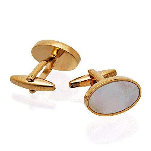 Hochwertige Herren Manschettenknöpfe 100% Edelstahl Versilbert / Perlmutteinlage – gold, perlmut - gold – Geschenk für Männer by VON FLOERKE