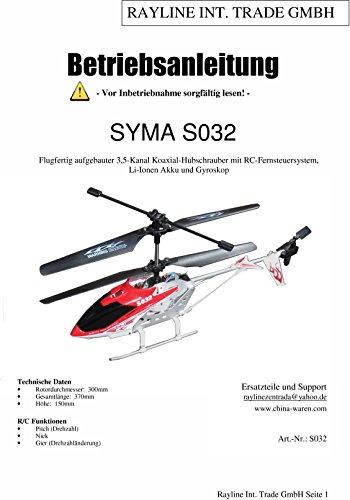 Bedienungsanleitungen für Syma RC Modelle (Syma 032G)