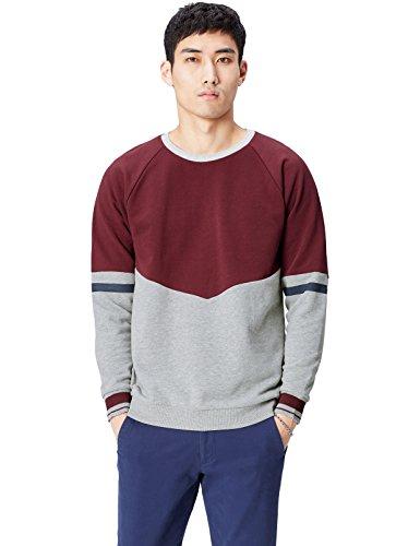 FIND Sweatshirt Herren mit Colour-Blocking, Sportstreifen, Rundem Ausschnitt und Rippenbündchen, Rot (Burgundy), 48 (Herstellergröße: Small)