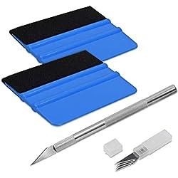 kwmobile Kit de pose pour vinyle - 2x Raclette de marouflage avec feutre 1x cutter 4x lame - Outils pose de film vitre voiture autocollant mur