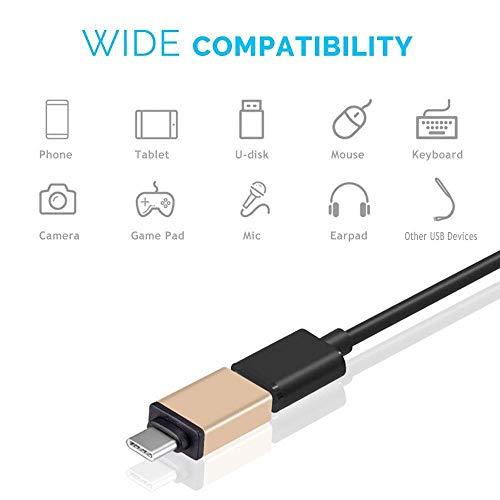 LQCN Adaptador USB OTG 2 en 1 Adaptador Tipo C a Micro USB para Xiaomi mi a1 8 Huawei P20 P10 Zuk Z2 Pro Leeco Le 2 3 Accesorios, Oro Rosa