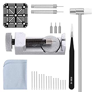 Watch Band Strap Link Pins Remover Repair Tool,28 in 1 Kit with 3 Extra Tips Replacement,20PCS Cotter Pin,1PCS Holder,1PCS Head Hammer,1PCS Tweezers,1PCS Glasses Cloth